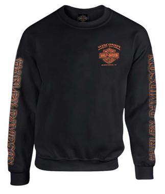 Harley-Davidson Men's Eagle Piston Fleece Pullover Sweatshirt, Black 30299948 - Wisconsin Harley-Davidson