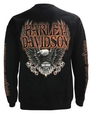 Harley-Davidson Men's Eagle Piston Fleece Pullover Sweatshirt, Black 30299948 - Wisconsin Harley-Davidson