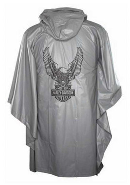 Harley-Davidson Up-Winged Eagle Waterproof Vinyl PVC Rain Poncho, Gray RP32854 - Wisconsin Harley-Davidson