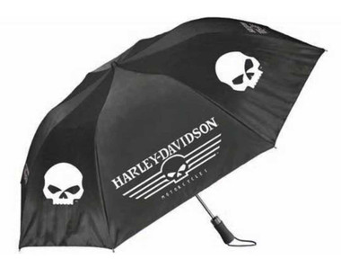 Harley-Davidson Linear Skull 44in. Retractable Umbrella, Black & White UMB119988 - Wisconsin Harley-Davidson