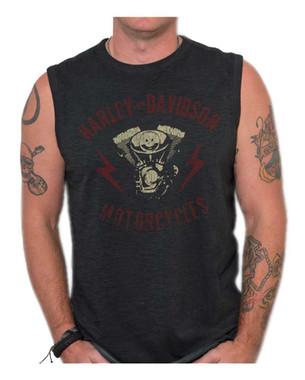 Harley-Davidson Men's Genuine Parts Premium Sleeveless Muscle Tank, Black Wash - Wisconsin Harley-Davidson