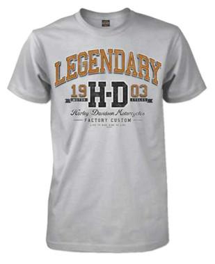 Harley-Davidson Men's University Premium Short Sleeve Crew T-Shirt, White Smoke - Wisconsin Harley-Davidson