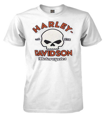 Harley-Davidson Men's Cracked Willie G Skull Premium Short Sleeve Tee, White - Wisconsin Harley-Davidson