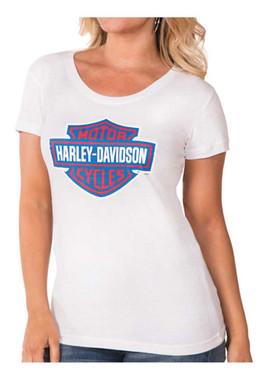 Harley-Davidson Women's RWB Bar & Shield Logo Short Sleeve Tee - White - Wisconsin Harley-Davidson