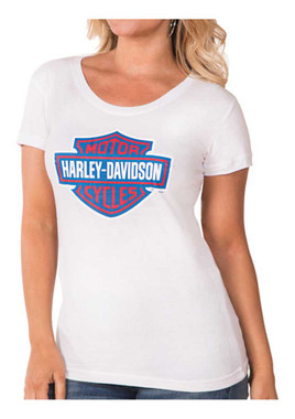 Harley-Davidson Women's RWB Bar & Shield Logo Short Sleeve Tee - White - Wisconsin Harley-Davidson