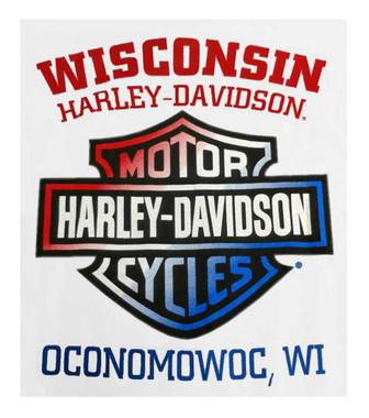 Harley-Davidson Men's Flag Engine Short Sleeve Crew Neck T-Shirt, White - Wisconsin Harley-Davidson