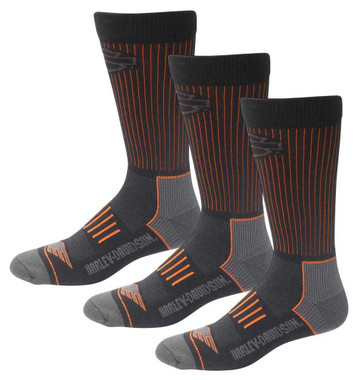 Harley-Davidson Men's Compression Coolmax Riding Socks, 3 Pairs D99219070-001 - Wisconsin Harley-Davidson