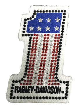 Harley-Davidson Studded #1 RWB Frayed Sew-On Emblem Patch, 4 x 2.5 in. HDEMF1018 - Wisconsin Harley-Davidson