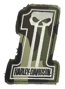 Harley-Davidson Dark Custom Camo #1 Skull Frayed Emblem Patch, 4 x 3 inches - Wisconsin Harley-Davidson