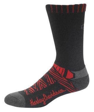Harley-Davidson Women's Aztec Coolmax Riding Socks - Black/Red D89218970-600 - Wisconsin Harley-Davidson