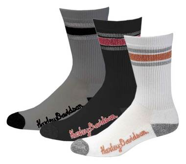 Harley-Davidson Womens Lurex Retro Riding Socks, 3pk. Multi Colors D89218770-990 - Wisconsin Harley-Davidson