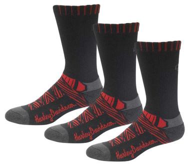 Harley-Davidson Women's Aztec Coolmax Riding Socks, 3 Pairs - Black/Red - Wisconsin Harley-Davidson
