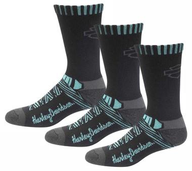 Harley-Davidson Women's Aztec Coolmax Riding Socks, 3 Pairs - Black/Teal - Wisconsin Harley-Davidson