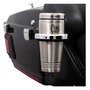Ciro Chrome Cup Holders - Multiple Sizes & Mounts for Harley, Includes Cup - Wisconsin Harley-Davidson