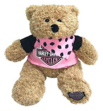 Harley-Davidson Babe 12 in. Huggy Stuffed Plush Bear, Black & Pink 9900851 - Wisconsin Harley-Davidson