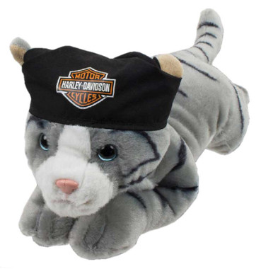 Harley-Davidson Steel 14 in. Cool Cat Plush Cuddle Bud, Gray & Black 9950859 - Wisconsin Harley-Davidson