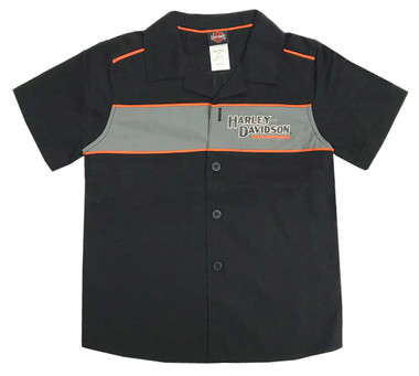 Harley-Davidson Little Boys' Short Sleeve Woven Shop Shirt, Black 1080889 - Wisconsin Harley-Davidson