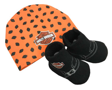 Harley-Davidson Baby Boys' Beanie & Biker Booties Set, Orange & Black 7050879 - Wisconsin Harley-Davidson