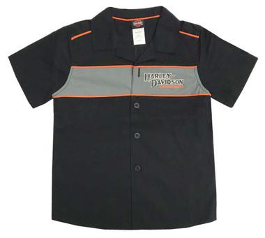 Harley-Davidson Big Boys' Short Sleeve Woven Shop Shirt, Black 1090889 - Wisconsin Harley-Davidson
