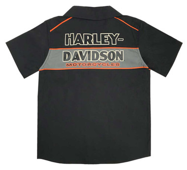 Harley-Davidson Big Boys' Short Sleeve Woven Shop Shirt, Black 1090889 - Wisconsin Harley-Davidson
