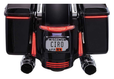 Ciro Latitude Tail Light & License Plate Holder - Black, Fits '10-'13 & '14-up - Wisconsin Harley-Davidson