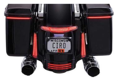 Ciro Latitude Tail Light & License Plate Holder - Black, Fits '10-'13 & '14-up - Wisconsin Harley-Davidson