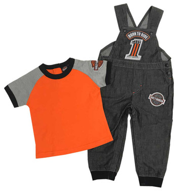 Harley-Davidson Little Boys' #1 Tee & Black Denim Overall 2-Piece Set 3071811 - Wisconsin Harley-Davidson