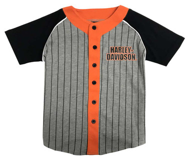Harley-Davidson Big Boys' Striped Colorblock Raglan Baseball Jersey 1091833 - Wisconsin Harley-Davidson