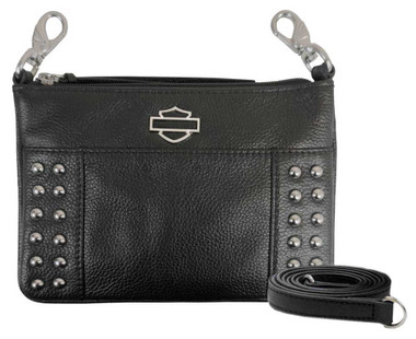 Harley-Davidson Women's Studded Rider Leather Hip Bag w/ Strap RD4960L-BLK - Wisconsin Harley-Davidson