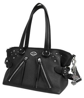 Harley-Davidson Women's Studded Rider Leather Satchel Purse, Black RD4918L-BLK - Wisconsin Harley-Davidson