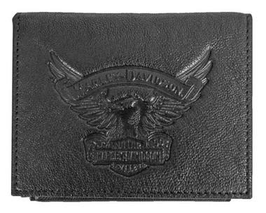 Harley-Davidson Men's Eagle Emboss Leather Bifold Plus One Wallet EE9035L-BLK - Wisconsin Harley-Davidson