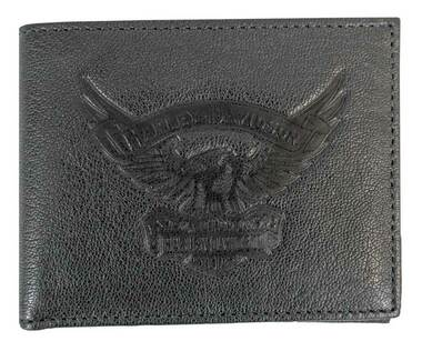 Harley-Davidson Men's Eagle Emboss Billfold w/ Removable ID Wallet EE9041L-BLK - Wisconsin Harley-Davidson