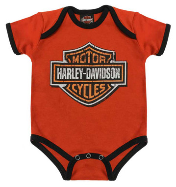 Harley-Davidson Baby Boys' Genuine Legend Short Sleeve Creeper, Orange 3050873 - Wisconsin Harley-Davidson