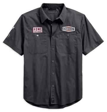 Harley-Davidson Men's #1 Skull Patch Slim Fit Short Sleeve Shirt 99081-18VM - Wisconsin Harley-Davidson