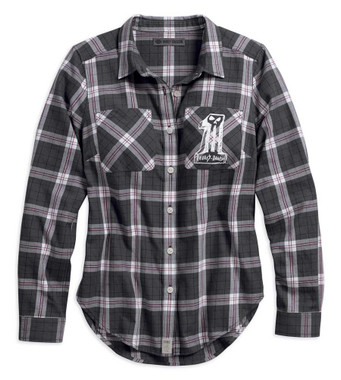 Harley-Davidson Womens Printed Eagle Plaid Blue Short Sleeve Shirt 96222-18VW