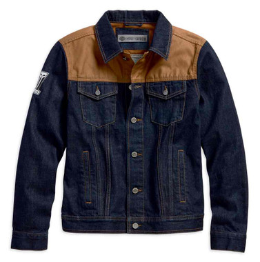 Harley-Davidson Men's Waxed Canvas Slim Fit Denim Jacket, Dark Indigo 98588-18VM - Wisconsin Harley-Davidson