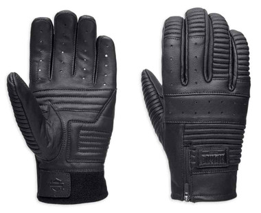 Harley-Davidson Men's Stormy Leather Full-Finger Gloves, Black 98021-18VM - Wisconsin Harley-Davidson