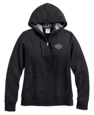 Harley-Davidson Women's WWP Stars & Stripes Zip-Up Hoodie, Black 99102-17VW - Wisconsin Harley-Davidson