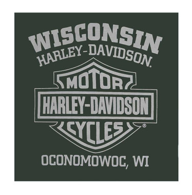 Harley-Davidson Men's Righteous Crew-Neck Long Sleeve Shirt - Forest Green - Wisconsin Harley-Davidson