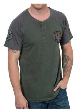 Harley-Davidson Men's Speed Heavy Premium Short Sleeve Henley Tee, Green/Gray - Wisconsin Harley-Davidson