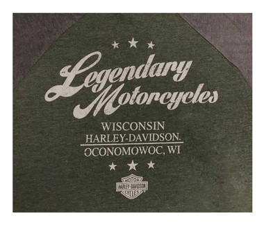 Harley-Davidson Men's Speed Heavy Premium Short Sleeve Henley Tee, Green/Gray - Wisconsin Harley-Davidson