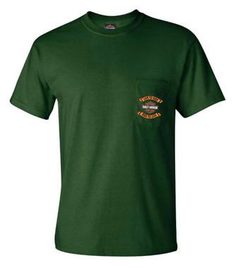 Harley-Davidson Men's Banned Short Sleeve Chest Pocket T-Shirt, Military Green - Wisconsin Harley-Davidson