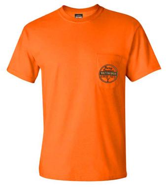 Harley-Davidson Men's Genuine Speed Chest Pocket Short Sleeve Tee, Safety Orange - Wisconsin Harley-Davidson