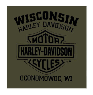Harley-Davidson Men's Vintage Stamp Short Sleeve Crew Shirt – Military Green - Wisconsin Harley-Davidson