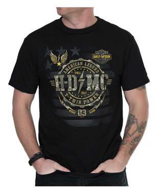 Harley-Davidson Men's American Legend Crew-Neck Short Sleeve T-Shirt, Black - Wisconsin Harley-Davidson