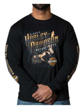 Harley-Davidson Men's Kickback Pin-Up Crew-Neck Long Sleeve Shirt - Black - Wisconsin Harley-Davidson