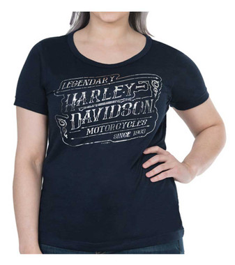 Harley-Davidson Women's Chrome Highway Foiled Short Sleeve Tee - Navy Blue - Wisconsin Harley-Davidson