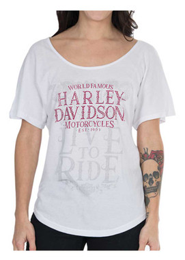 Harley-Davidson Women's Global Embellished Short Sleeve Dolman Tee, White - Wisconsin Harley-Davidson