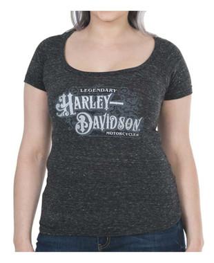 Harley-Davidson Women's Spectacular Metallic Short Sleeve Raw-Edge Tee, Onyx - Wisconsin Harley-Davidson