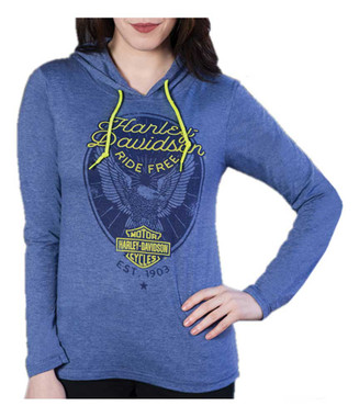 Harley-Davidson Women's Ante Up Embellished Long Sleeve Hoodie Tee, Blue Heather - Wisconsin Harley-Davidson